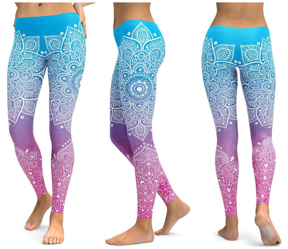 Женские штаны для фитнеса голубой розовый