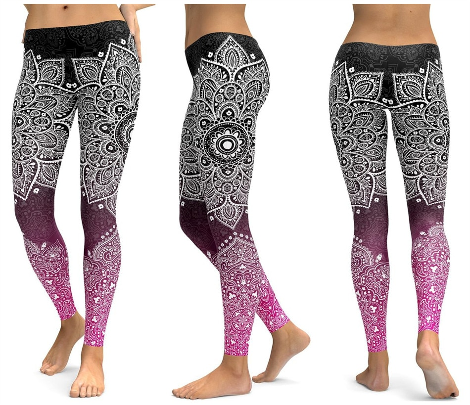 Штаны для фитнеса розовые черные рисунок