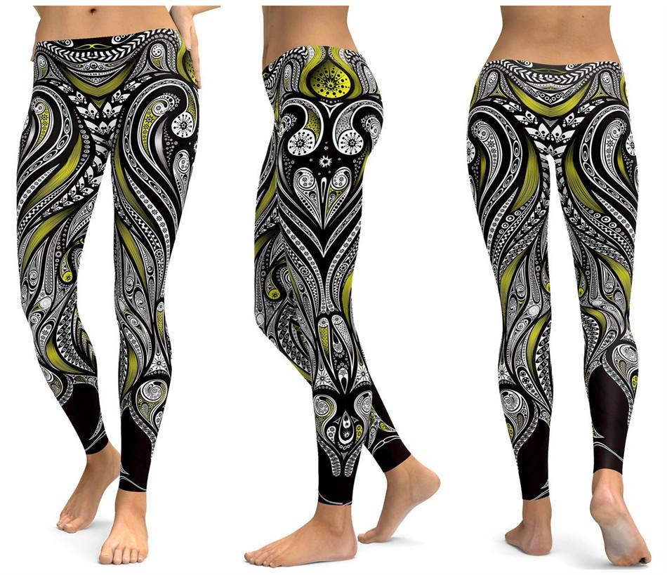 Штаны для фитнеса черный зеленый рисунок